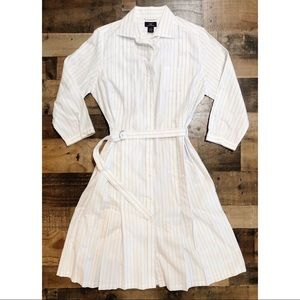 """Brooks Brothers """"346"""" White Striped Belted Dress"""